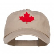 Canada Maple Leaf Embroidered Low Cap - Khaki