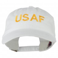 USAF Embroidered Military Washed Cap - White