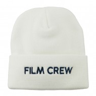 Film Crew Embroidered Long Beanie - White