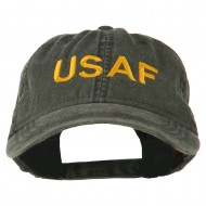 USAF Embroidered Military Washed Cap - Black