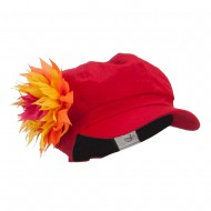 Flower Cotton Elastic Newsboy Youth Cap - Red