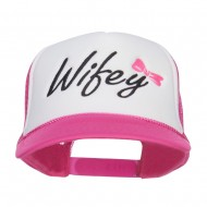 Wifey Ribboned Embroidered Foam Mesh Cap - Hot Pink White