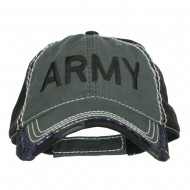 Army Embroidered Cotton Frayed Bill Cap - Charcoal Black