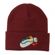 Flying Snowman Heart Embroidered Beanie - Maroon