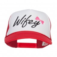 Wifey Ribboned Embroidered Foam Mesh Cap - Red White