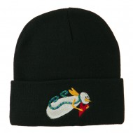 Flying Snowman Heart Embroidered Beanie - Black