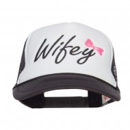 Wifey Ribboned Embroidered Foam Mesh Cap - Black White