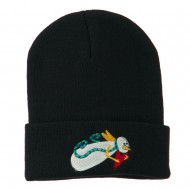 Flying Snowman Heart Embroidered Beanie - Navy