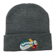 Flying Snowman Heart Embroidered Beanie - Grey