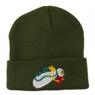 Flying Snowman Heart Embroidered Beanie - Olive