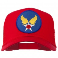 Air Force Military Patched Mesh Cap - Red