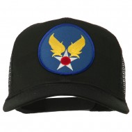 Air Force Military Patched Mesh Cap - Black