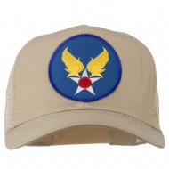Air Force Military Patched Mesh Cap - Khaki