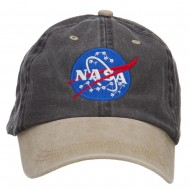 NASA Insignia Embroidered Washed Two Tone Cap - Black Khaki