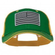 Grey American Flag Patched Big Size Washed Mesh Cap - Kelly Gold