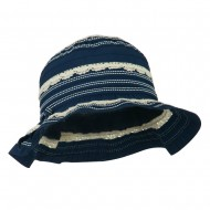 Girl's Bucket Hat with Lace Detail - Navy