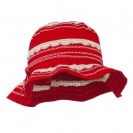 Girl's Bucket Hat with Lace Detail - Red