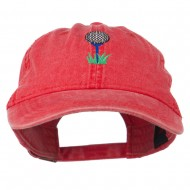 Golf Ball on Golf Tee Embroidered Washed Cotton Cap - Red