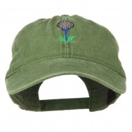 Golf Ball on Golf Tee Embroidered Washed Cotton Cap - Olive Green