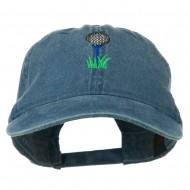 Golf Ball on Golf Tee Embroidered Washed Cotton Cap - Navy