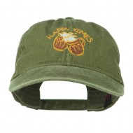 Good Times Beer Image Embroidered Washed Cap - Olive Green
