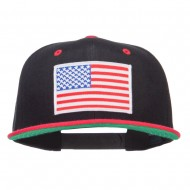 American Flag Patched Two Tone Snapback - Black Red