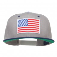 American Flag Patched Two Tone Snapback - Grey Navy