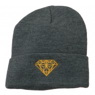 Gold Diamond Embroidered Long Cuff Beanie - Grey