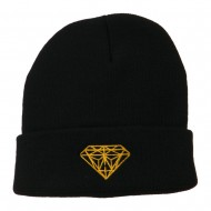 Gold Diamond Embroidered Long Cuff Beanie - Navy