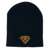 Gold Diamond Embroidered Youth Short Beanie - Navy