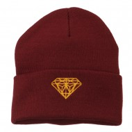 Gold Diamond Embroidered Long Cuff Beanie - Maroon