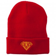 Gold Diamond Embroidered Long Cuff Beanie - Red
