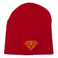 Gold Diamond Embroidered Youth Short Beanie - Red