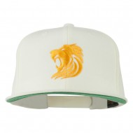 Gold Lion Embroidered Wool Snapback Cap - Natural