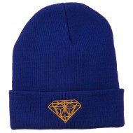 Gold Diamond Embroidered Long Cuff Beanie - Royal