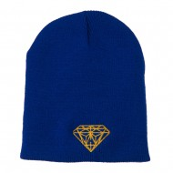 Gold Diamond Embroidered Youth Short Beanie - Royal