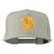 Gold Lion Embroidered Wool Snapback Cap - Heather