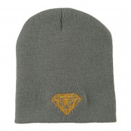 Gold Diamond Embroidered Youth Short Beanie - Grey