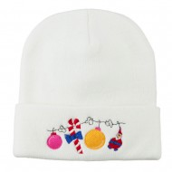 Christmas Garland Elf Candy Embroidered Beanie - White
