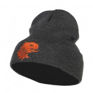 Girffin Emblem Embroidered Long Beanie - Dk Grey