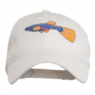 Guppy Fish Embroidered Washed Cap - White