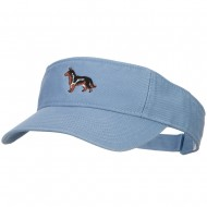 German Shepherd Embroidered Pro Style Cotton Washed Visor - Blue