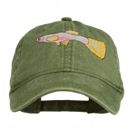 Guppy Fish Embroidered Washed Cap - Olive Green