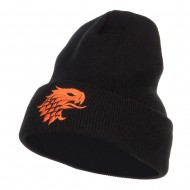 Girffin Emblem Embroidered Long Beanie - Black
