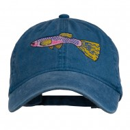 Guppy Fish Embroidered Washed Cap - Navy