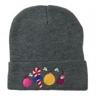 Christmas Garland Elf Candy Embroidered Beanie - Grey