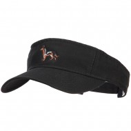 German Shepherd Embroidered Pro Style Cotton Washed Visor - Black
