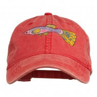 Guppy Fish Embroidered Washed Cap - Red