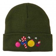 Christmas Garland Elf Candy Embroidered Beanie - Olive