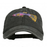 Guppy Fish Embroidered Washed Cap - Black